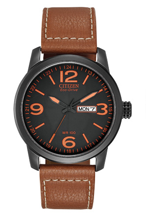 BM8475  - Eco-Drive Stainless Steel With Brown Faux-Leather Strap.    List Price: $195       Our Price: $156