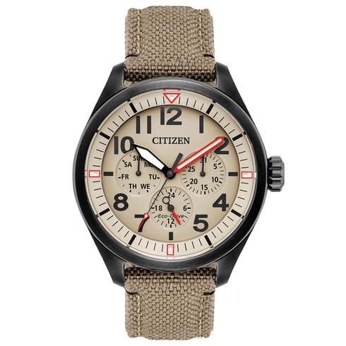 BU2055  - Eco-Drive Military Style With Cordura Strap.     List Price: $275      Our Price: $220