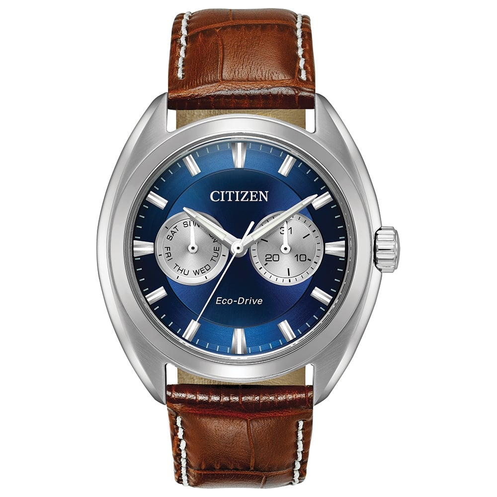BU4010  - Eco-Drive With Blue Dial Face & Leather Strap.    List Price: $250      Our Price: $200