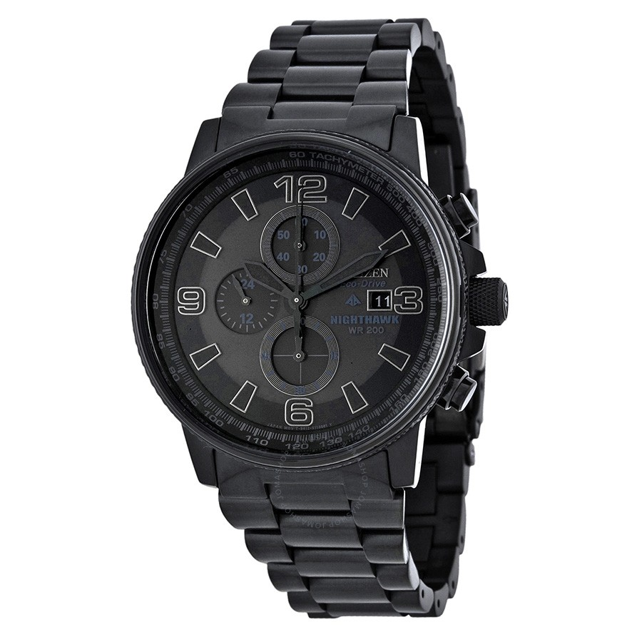 CA0295  - Eco-Drive Nighthawk With Black Stainless Steel Band.    List Price: $450      Our Price: $360