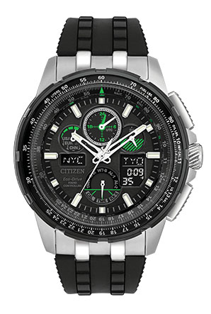 JY8051  - Eco-Drive Skyhawk With Perpetual Calendar, Alarm & Black Band.    List Price: $695      Our Price: $556