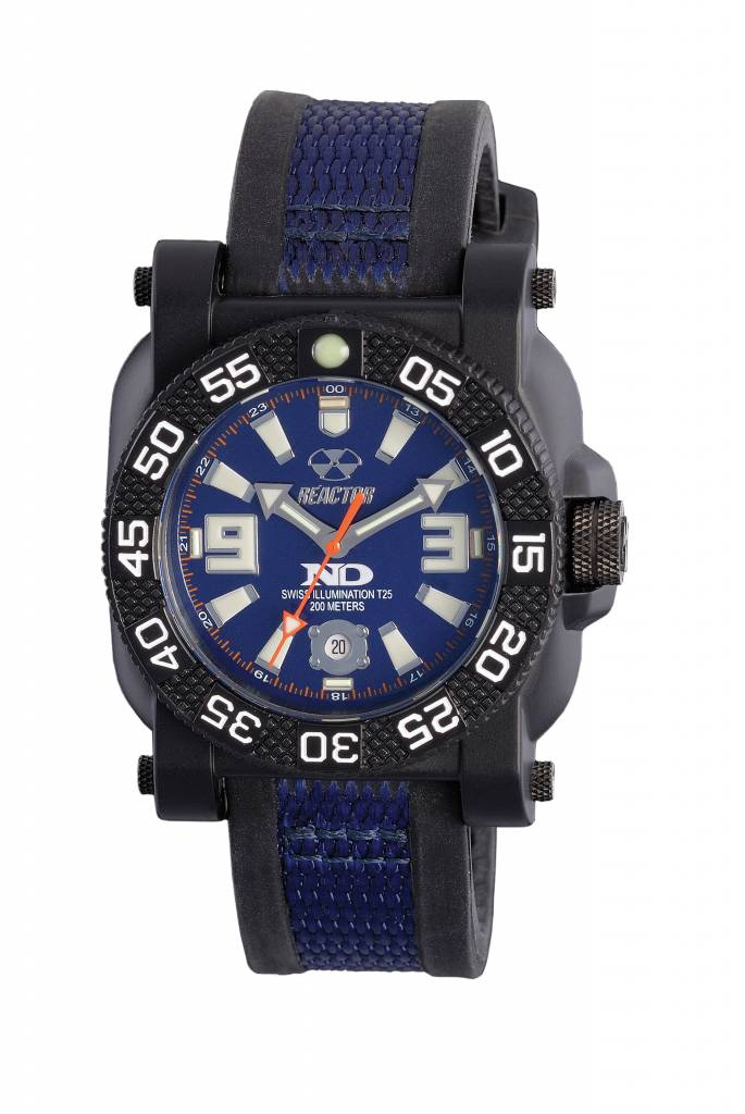 73803  - Gryphon Never Dark Stainless Steel & Nitride Polymer Shell With Two Toned Rubber Strap.    List Price: $350      Our Price: $280
