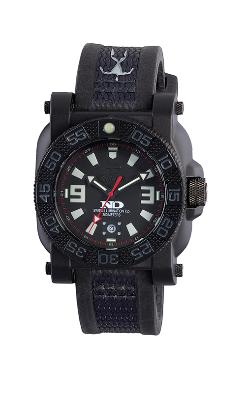 73901  -   Gryphon Never Dark Stainless Steel & Nitride Polymer Shell With Black Rubber Strap.        List Price: $350       Our Price: $280