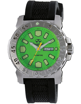 76809  - Meltdown 2 Acid Green Superluminova Dial With Stainless Steel Casing & Gryphon Strap.    List Price: $300      Our Price: $240