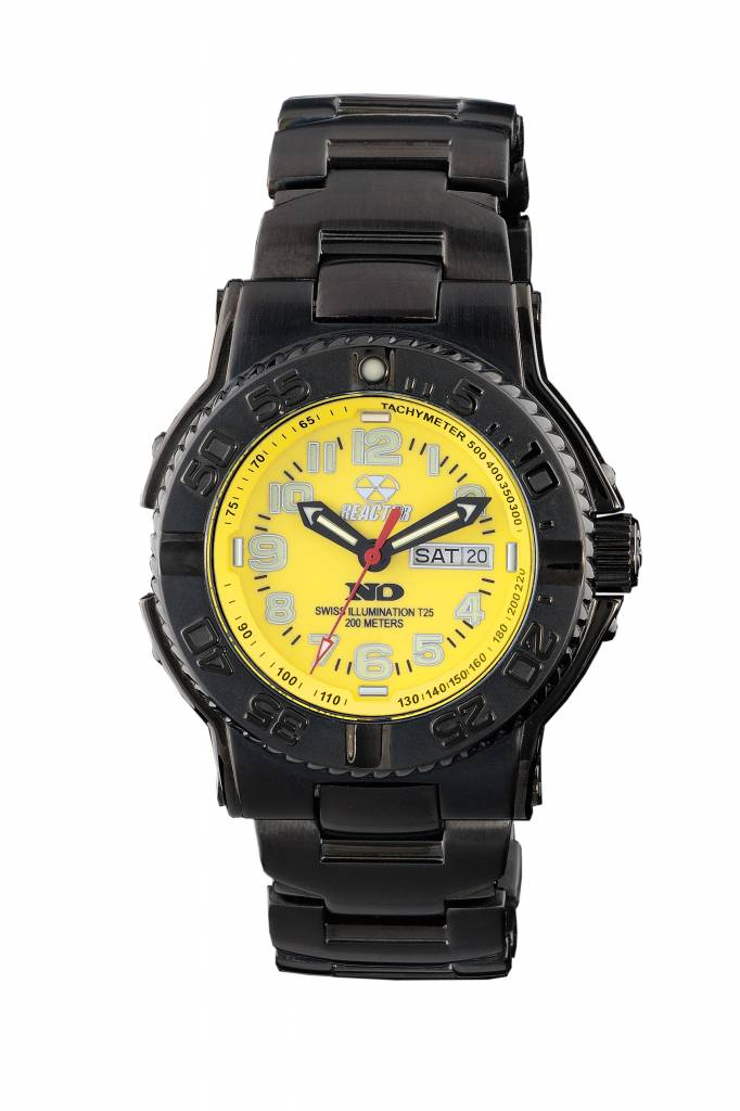 59507  - Trident Featuers 10 Year Power Cell, Never Dark Illumination With Yellow Dial & Stainless Steel Band.    List Price: $450      Our Price: $360