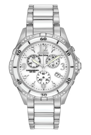 FB1230  - Women' Eco-Drive With Ceramic Bezel & 32 Diamonds.  List Price: $695    Our Price: $556