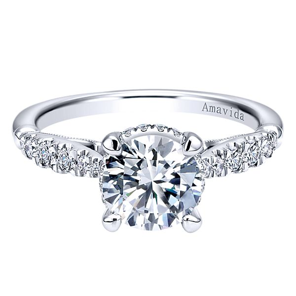 ER11345  – 1.00 CT Center Stone Set In 0.31 ct Setting In A 18K White Gold Band.  List Price: $1,890    Our Price: $1,512