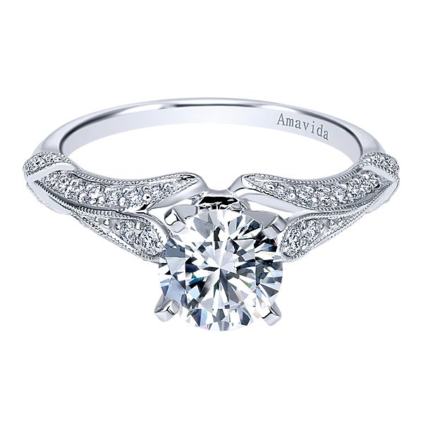 ER11889  – 1.00 CT Center Stone Set In A 0.32 ct Setting In A 18K White Gold Band.  List Price: $1,840    Our Price: $1,472