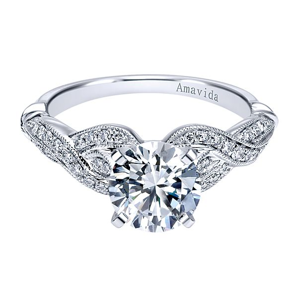 ER11890  – 1.00 CT Center Stone Set In 0.17 ct Setting In A 14K White Gold Band.  List Price: $1,450     Our Price: $1,160