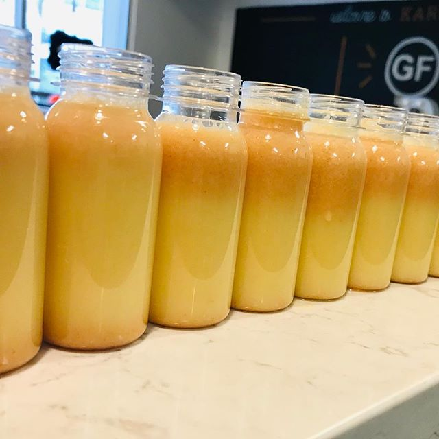 Boost your immune system ... while supplies last. Fresh Lemon GF cayenne organic ginger shots back in stock. GF Charcoal Lemonade and Organic pure celery juice too 🎉🎉🎉💚💚💚 come and get ' em! 📸 @eatkarmafarm where they are made GF & so fresh