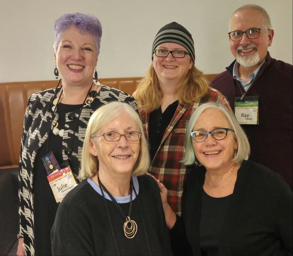 Crime Bake, the annual New England mystery conference, brings writers and readers together. This year, 2018, I met with my editor and other writers with Midnight Ink, a fabulous group. With me here are, top left to right, Julie Hennrikus, Terri Bischoff (editor), and Ray Daniel. To my right is Edith Maxwell.