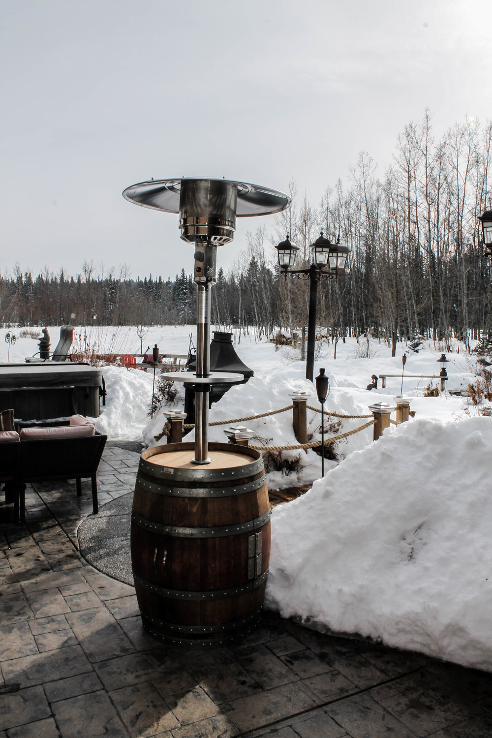 Barrel Patio Heater - Think ahead, forget the sweater at home – and stay warm when the sun goes down.