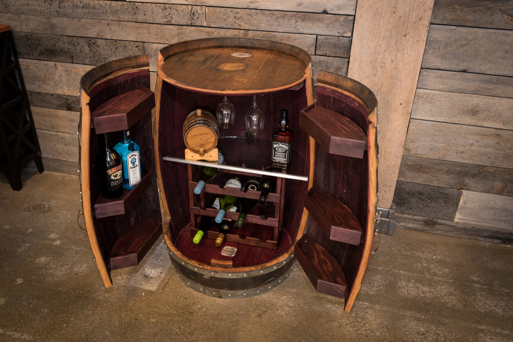 Wine Barrel Liquor Cabinet