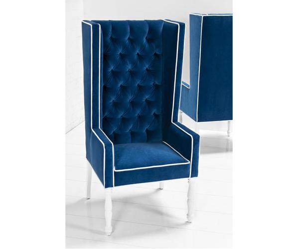 Ultra Tall Wing Dining Chair  Royal Blue Velvet