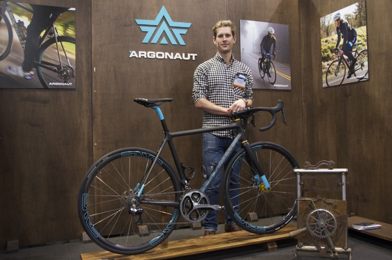 "Ben Farver of Argonaut Cycles won ""Best in Show"" for his carbon-fiber gravel racer. ""The hand-built side has often been a leader of what's coming next,"" Farver said. ""It can be looked at as a trendsetter in a lot of ways."" (Christina Cooke)"