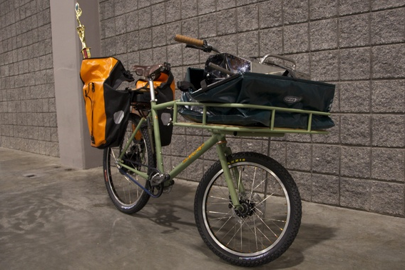 "Jeremy SyCip of Santa Rosa has built delivery bicycles for a deli and gelato shop in California, in addition to the BBQ Bike that won ""Best Theme Bike"" at NAHBS. He averages two to three bikes per week and has a waiting list of four to five months. (Christina Cooke)"