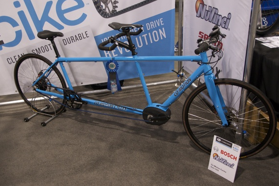 "Rather than a traditional metal chain, this tandem bike by Oregon's Co-Motion Cycles, winner of ""Best Tandem Bike,"" incorporates a carbon belt drive and a Bosch electric motor that kicks on when the riders start to pedal. (Christina Cooke)"