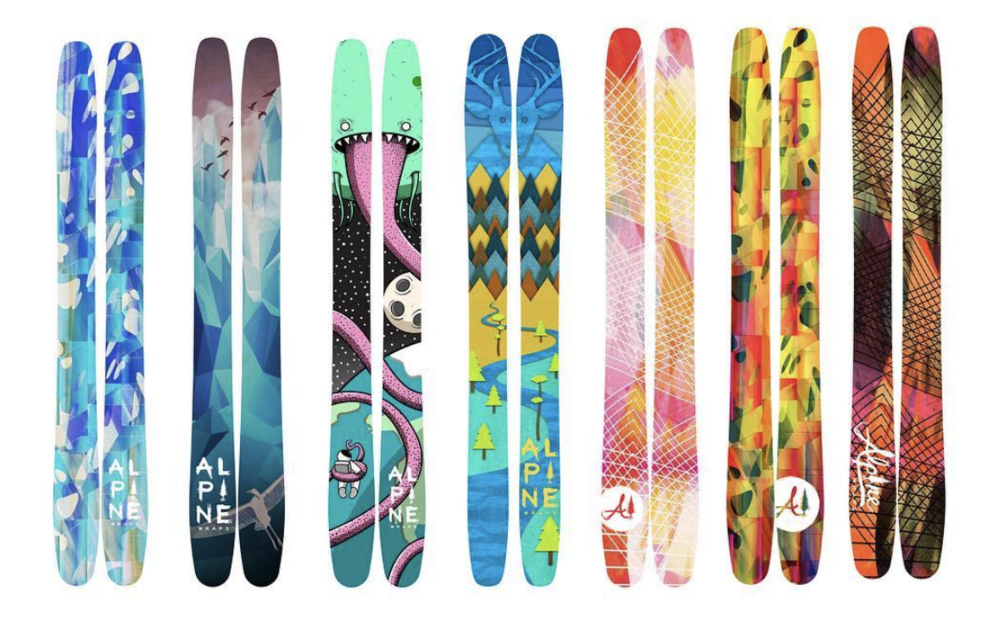 The Graphic Topsheet. - By: Alpine Wraps, a ski graphics company founded by Laura Wolfe