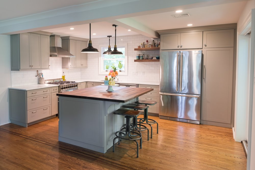Cadet Grey kitchen with Walnut butcher block island