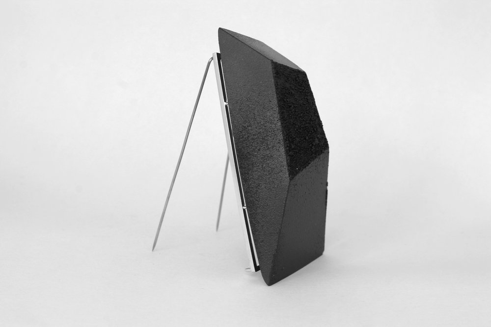 Textured Black Jesmonite Brooch