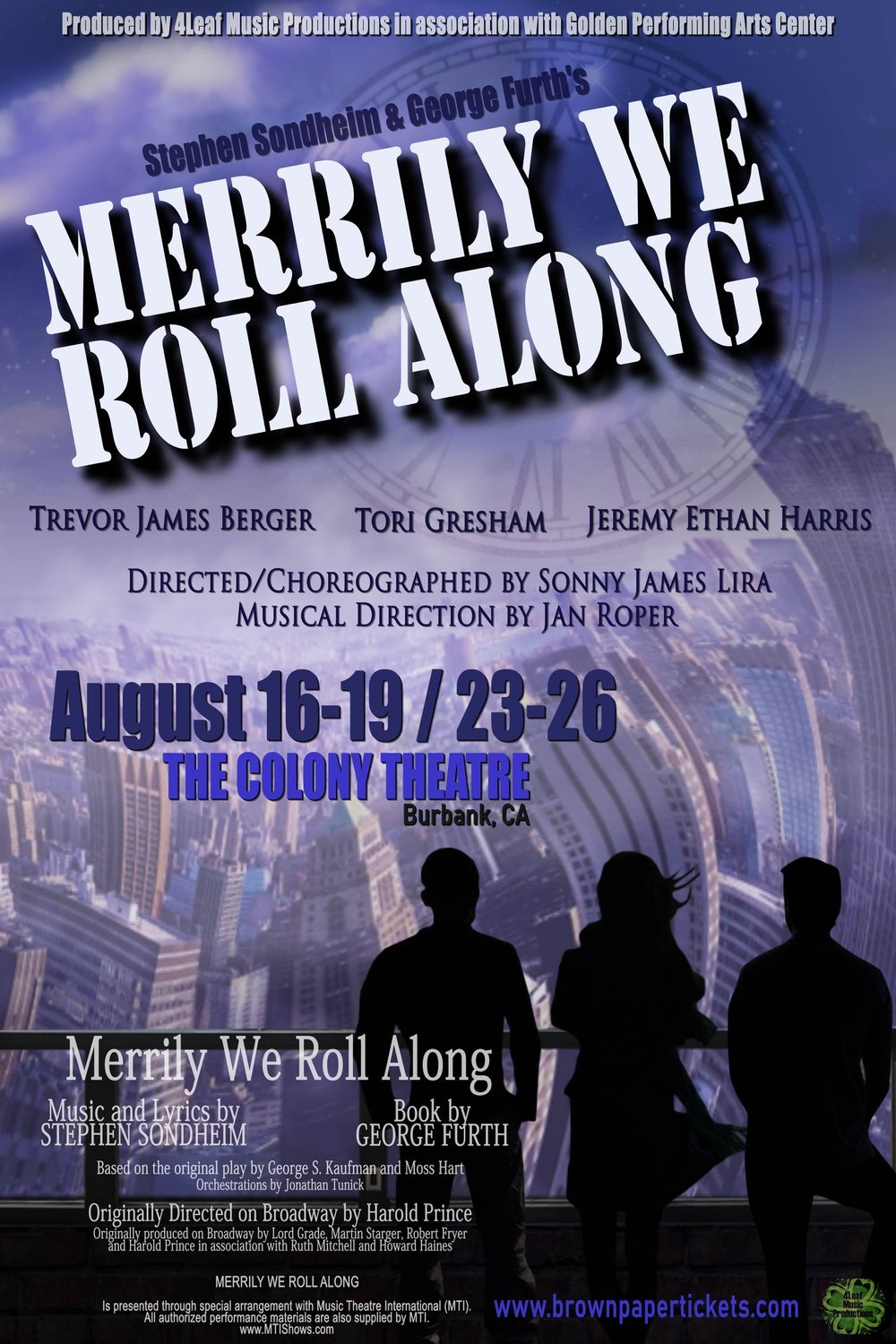 Franklin shepard - August 2018 - Trevor will be playing Franklin Shepard in 4Leaf Music Production's debut production of Merrily We Roll Along running August 16-19 and August 23-26, 2018 at The Colony Theatre in Burbank, California.For tickets: https://www.brownpapertickets.com/event/3511635