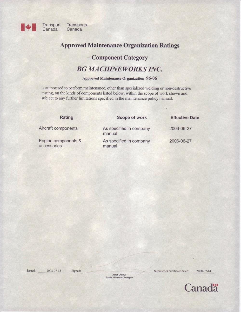 Certifications Bg Machineworks Inc