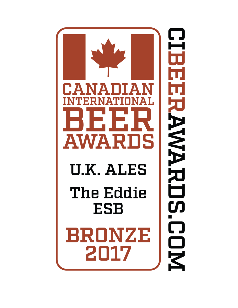 2017 The Eddie ESB - Our second seasonal, The Eddie Extra Special Bitter, placed bronze in the U.K. Ales category in the Canadian International Beer Awards held at the 2017 Calgary International Beerfest.