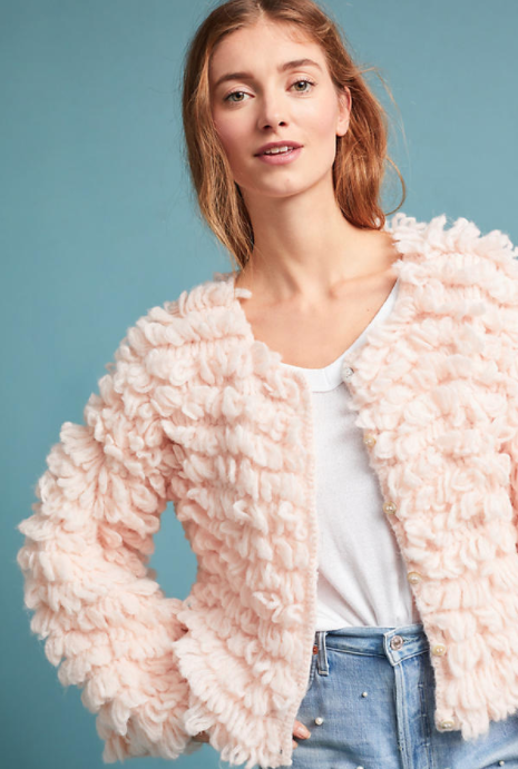 Hand-Knit Luxe Looped Cardigan $580