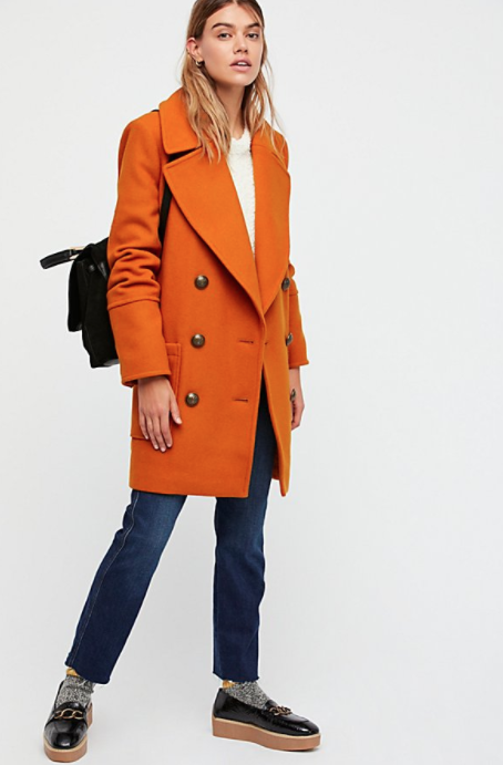 Free People Naiomi Solid Wool Coat $228