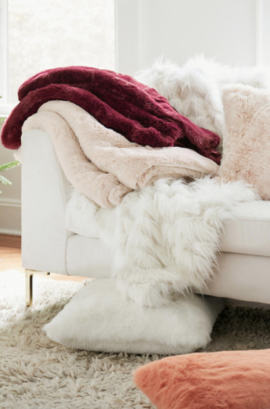 Fireside Faux Fur Throw Blanket $78