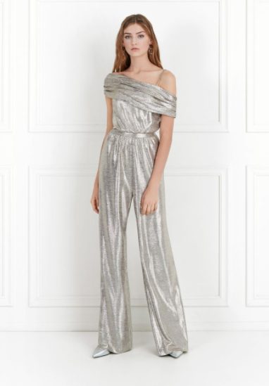 Rachel Zoe Metallic Stretch Jersey Jumpsuit $495