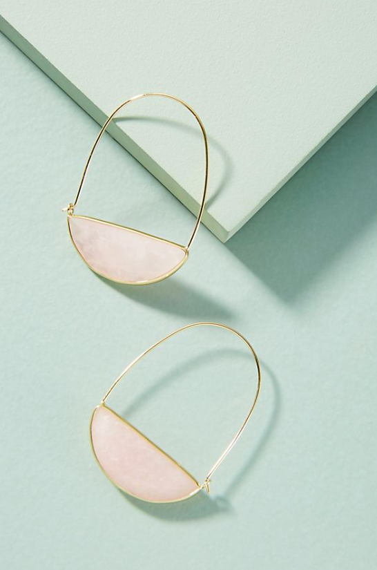 Stone Crescent Hoop Earrings $44