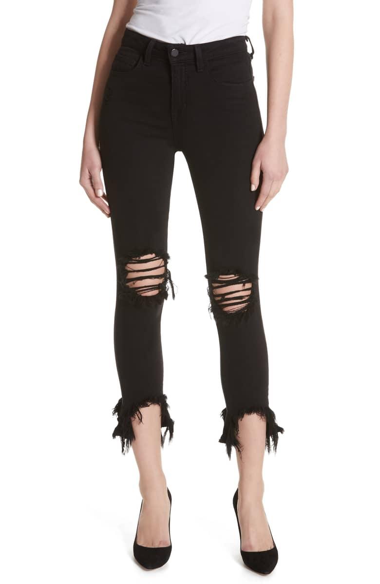 L'AGENCE Highline High Waist Fray Hem Skinny Jeans - -Charity Chapman, Stylist