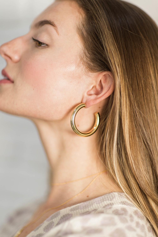 Five & Two Gold Hoops - fiveandtwojewelry.com