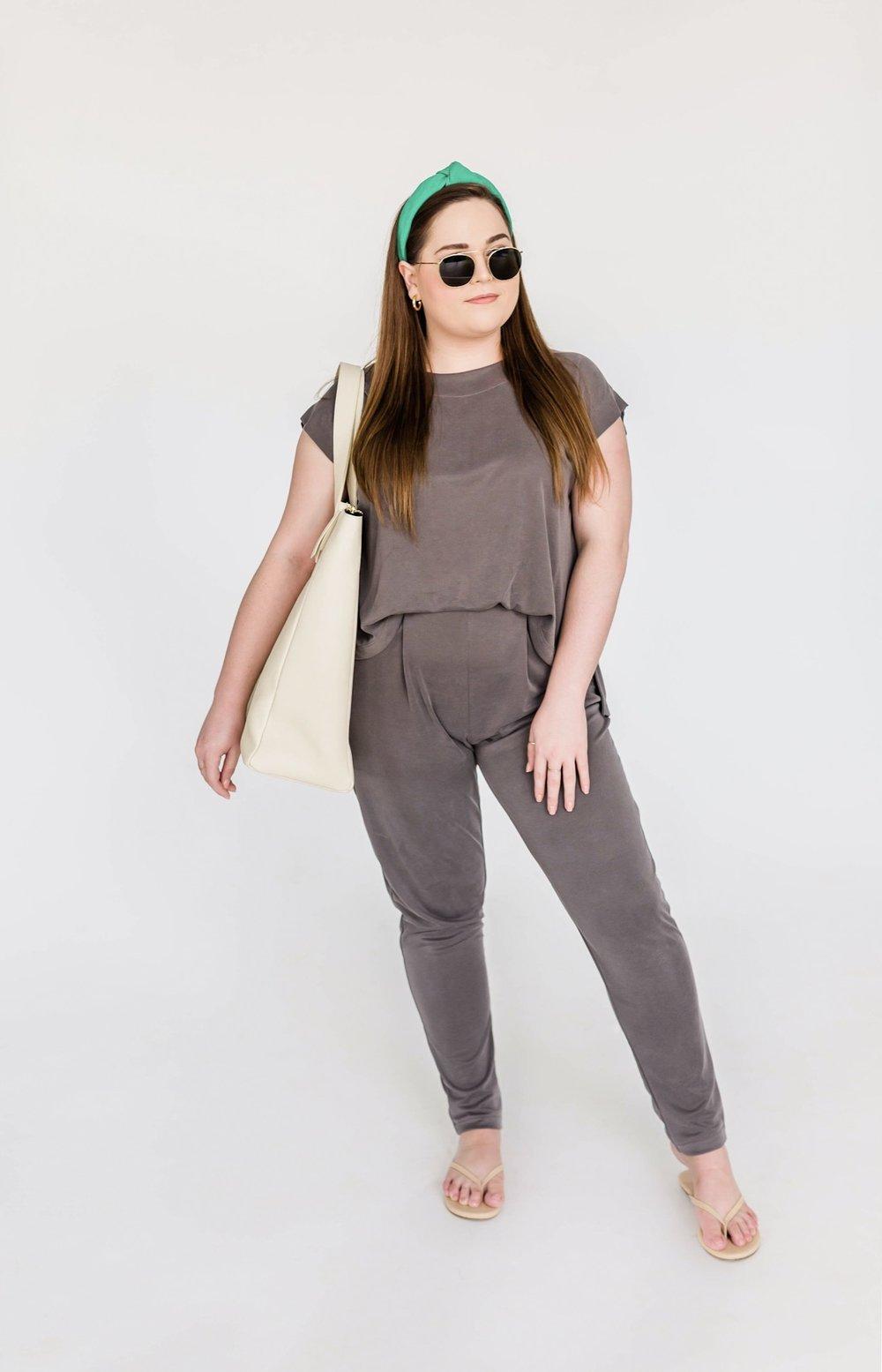 Rebecca's Look - What She's Wearing:Lele Sadoughi HeadbandIllesteva SunglassesJennifer Zeuner HoopsLife Proper Flight ToteTkees Sandals