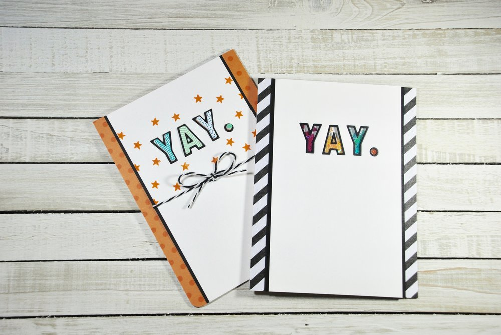 "I used double-sided foam from Papertrey Ink to create the YAY. shaker letters.  In hindsight I don't know why I used a ""."" instead of an ""!"".  It would've been much cuter with the ""!"" with the orange shaker pieces.  I then used the foam letters that were left over from this card to create the other YAY card with the orange."