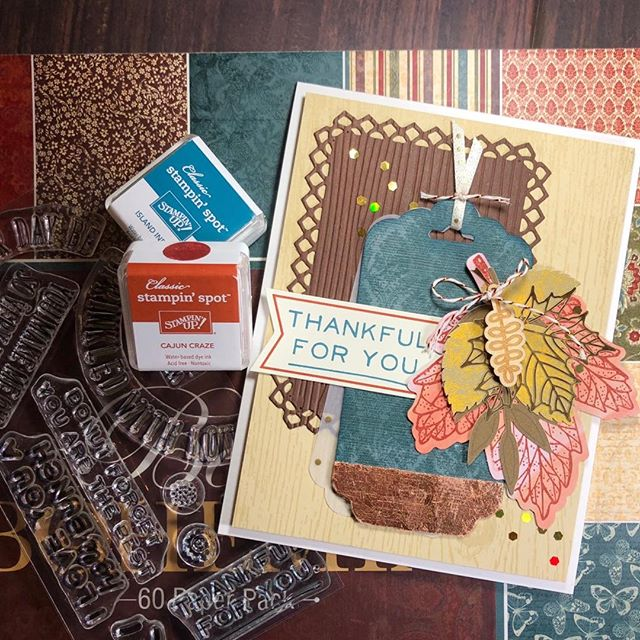 Merged supplies from three Stampin Up! paper Pumpkins for this fall-themed card. Please visit my blog for details and products. https://www.beyondcmyk.com/blog/2017/10/15/stampin-up-paper-pumpkin-alternative-card  #stampinup #stampinupcards #paperpumpkin