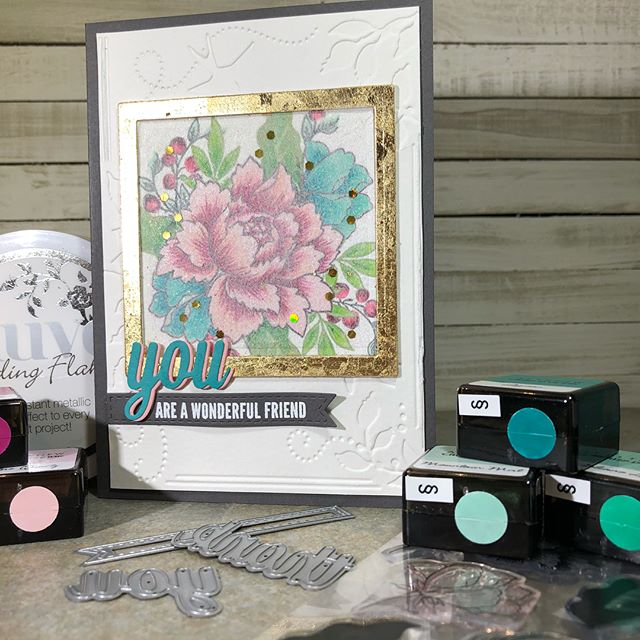 The dryer sheet technique gave this beautiful Altenew Peony Bouquet stamp arrangement soft texture. I just love the unique look you get with the Nuvo  Gilding Flakes!  #altenewchallenge #papercrafting #altenewpeonybouquet #nuvogildingflakes