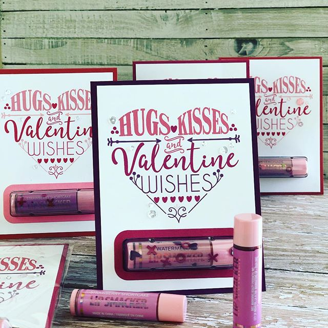 The perfect Valentine for a sweetheart, child, BFF, or teacher!  Hugs, kisses, and valentine wishes complete with lip balm!! ♥️💋💄 #simonsaysstamp #mtfstamps #stampinup #paperpumpkin