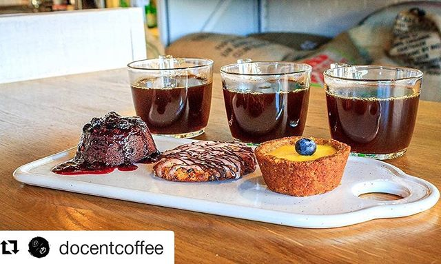 Grab that special someone and bring them to @docentcoffee next week for our Valentine's Week special: 3 coffees and 3 pastries for $20. ・・・ ❤️ Love Takes Flight ❤️ A Valentines Day 3 coffee and 3 pastry flight extravaganza we decided to run the entire week of Valentines (2/12-2/17)! For $20, you, and/or your special someone, can share the following:  A flight of 3 in-house homemade pastries and 3 single origin coffees uniquely paired to compliment each other.  8oz cup of Epiphany (Colombian single origin) Flourless chocolate cake with mixed berry coulis.  - 8oz cup of Conceit (Ethiopian single origin) Walnut crusted lemon tart with blueberry - 8oz cup of Abstract (Guatemalan single origin) Cranberry coconut macaroon with chocolate drizzle