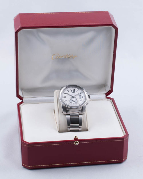 8c4daee880f Calibre de Cartier Stainless Steel 42mm on Bracelet Calibre 3389 Exhibition  Case Back with Box Only