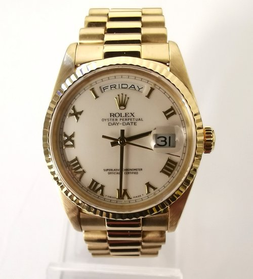 4a5d52442e9 Rolex Oyster Perpetual Day/Date 18ct Yellow Gold Ref. 18238 circa 1993 on  President ...