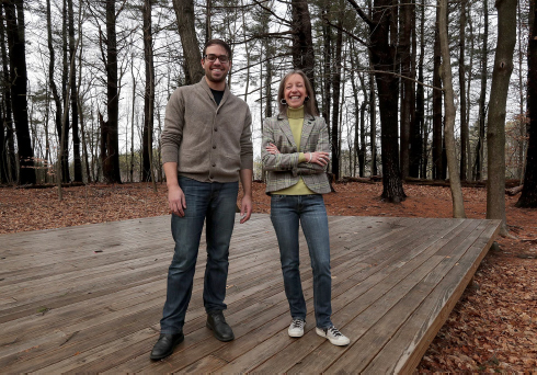 Edward Speck and Kelly Shea Knowles on stage at the property used by Theater in the Open in Maudslay State Park.