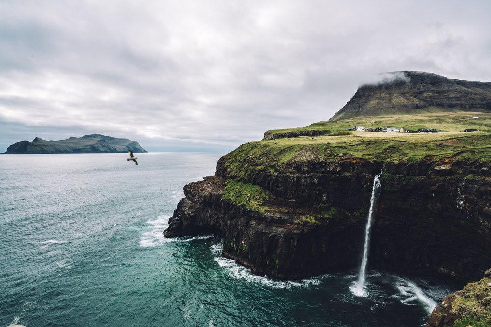 waterfall faroe islands
