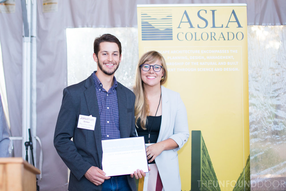 JSR Scholarship Award Presentation at 2017 ASLA Colorado Annual Gathering - Recipient Jonathan Staker and JSR President Megan Jones Shiotani