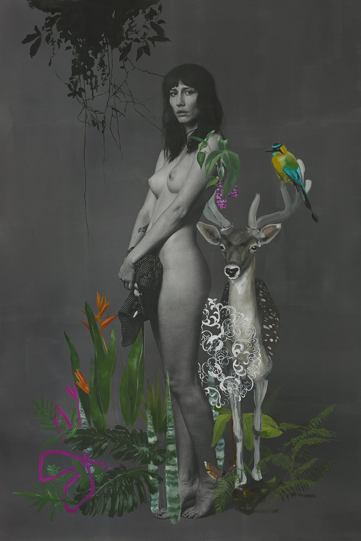 Michelli, oil paint over archival pigment print, 42.5x65. Inquire for price.