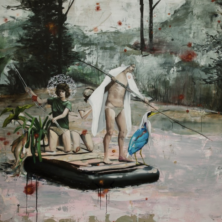 Raft and Spaceship, acrylic and oil on canvas, 60x60. Inquire for price.