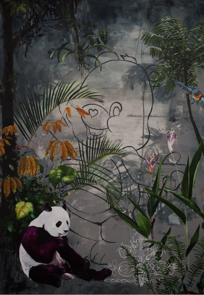 Panda and Bear Prologue, oil and acrylic on canvas. Inquire for price.