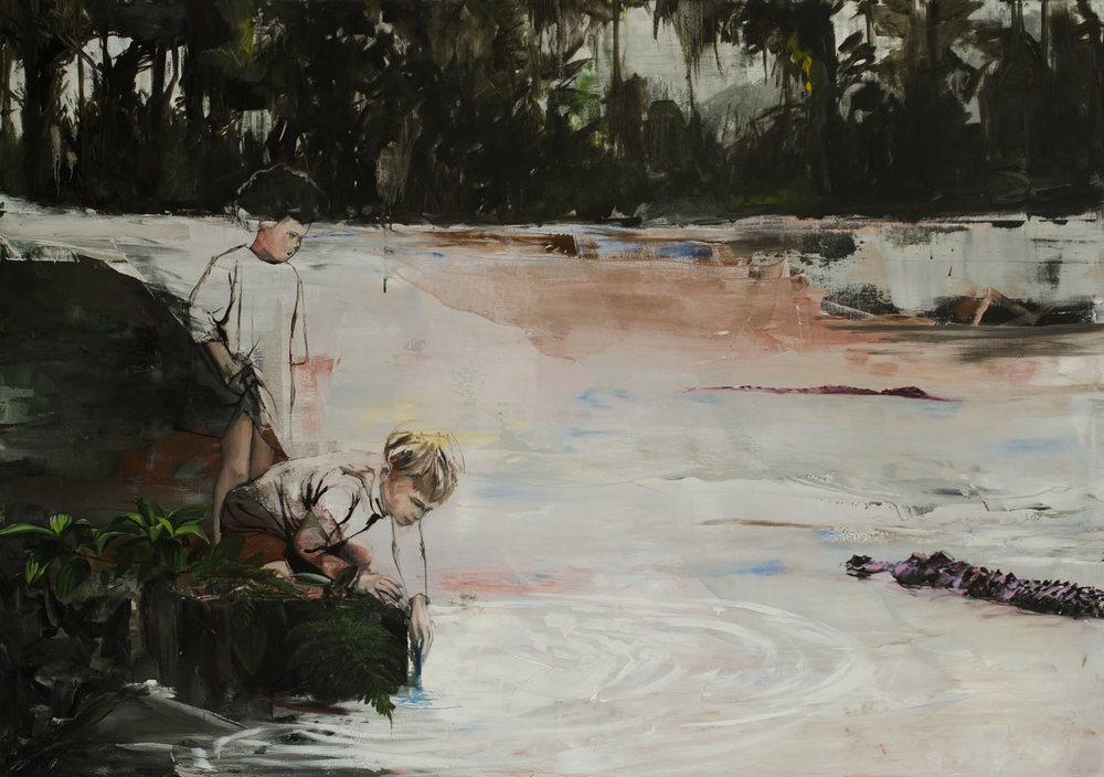Daddy said crocodiles don´t bite, 120x70, oil on canvas, Inquire for price.