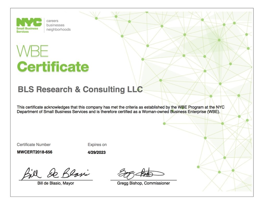 Bls Research Becomes A Certified Wbe In Nyc Bls Research Consulting